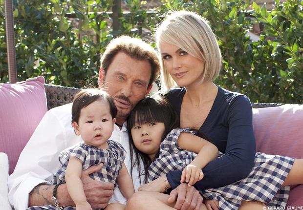 Johnny et Laeticia avec leurs fillettes